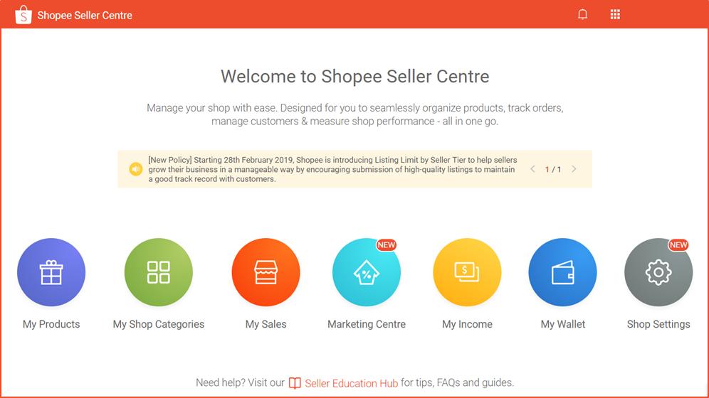 【Shopee官方基础教程】1-1卖家中心页面概览